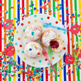 Fresh beignets on colorful plate Stock Photography