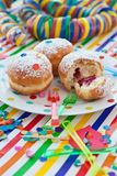 Fresh beignets on colorful plate Royalty Free Stock Image