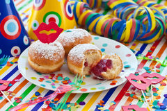 Fresh beignets on colorful plate Royalty Free Stock Images