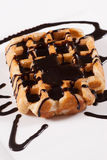 Fresh Belgian waffle with chocolate royalty free stock photo