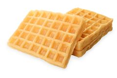 Fresh Belgian waffles. Isolated on white. Side view Stock Photography