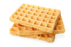 Fresh Belgian waffles. Isolated on white. Side view Royalty Free Stock Photo