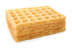 Fresh Belgian waffles. Isolated on white. Side view Stock Photo