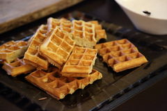 Fresh Belgian waffles Royalty Free Stock Photos