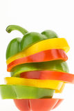 Fresh bell pepper sliced into colorful rings closeup Royalty Free Stock Images