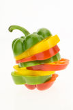 Fresh bell pepper sliced into colorful rings closeup Stock Photo