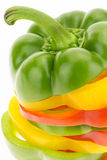 Fresh bell pepper sliced into colorful rings closeup Stock Image