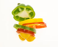 Fresh bell pepper sliced into colorful rings Royalty Free Stock Images