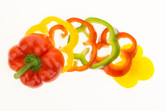 Fresh bell pepper sliced into colorful rings Stock Photo