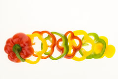 Fresh bell pepper sliced into colorful rings Royalty Free Stock Photos