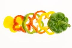 Fresh bell pepper sliced into rings Stock Photos