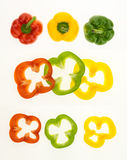 Fresh bell peppers and sliced rings Royalty Free Stock Images