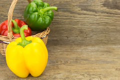 Fresh bell peppers in wicker basket Stock Images