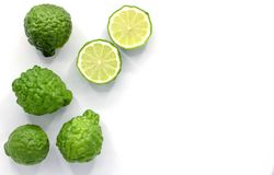 Fresh Bergamot fruit isolated on white background with copy space. Top view stock photo
