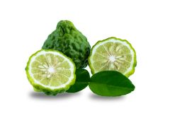 Fresh bergamot fruit with leaf isolated on white background stock images