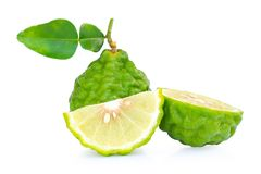 Fresh bergamot fruit with leaf slice isolated on white background,clipping path. royalty free stock photography