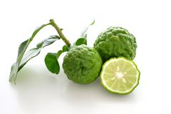 Fresh bergamot with leaf. On white background royalty free stock photos