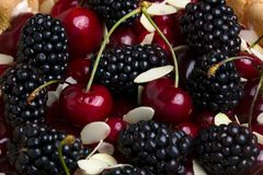 Fresh berries with almond Royalty Free Stock Images