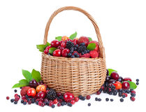 Fresh berries in basket isolated on white background. With clipping path Royalty Free Stock Photos
