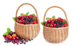 Fresh berries in basket isolated on white background Stock Image