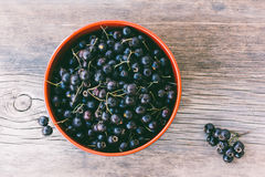 Fresh Berries Of Black Hawthorn In A Bowl On Old Wooden Table Closeup Stock Photography