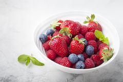 Fresh berries, blueberry, strawberry, raspberry with mint leaves. In a white ceramic bowl on a gray stone background. Copy space Stock Photography