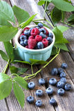 Fresh berries in a bowl on a wooden table Stock Images