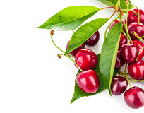 Fresh berries cherry with green leaves Royalty Free Stock Photos