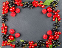 Fresh berries of cherry, raspberries, red currant and black currant Royalty Free Stock Photography