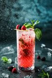 Fresh berries cocktail with raspberry, blackberry, mint and ice in jar glass on dark blue background. Studio shot of drink in freeze motion, drops in liquid royalty free stock photos