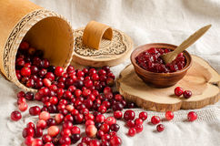 Fresh berries cranberry and jam cranberry Royalty Free Stock Photos