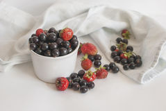 Fresh berries in a cup on a white background. Fresh organic black currants and strawberries  in a cup on a white background; selective focus Stock Photo