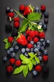 Fresh Berries on Dark  Background. Fresh Berries on Dark Background. Strawberries, Raspberries and  Blueberries.  Health, Diet, Gardening, Harvest Concept Royalty Free Stock Photos
