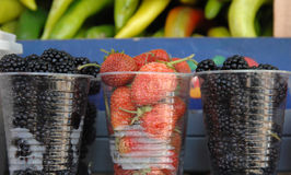 Fresh berries in a disposable plastic cup. Fro sale on a farmer market royalty free stock photo