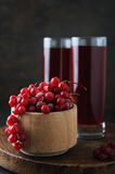Fresh berries drink and bowl with  red currant Royalty Free Stock Photos