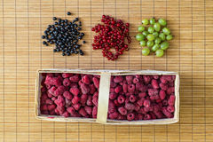Fresh berries. Flat lay, top view. Stock Photos