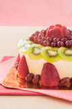 Fresh berries fruit cake with whipped cream. Stock Image