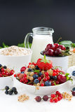 Fresh berries, fruit, cereal and milk for breakfast. Royalty Free Stock Images
