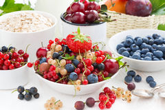 Fresh berries, fruit, cereal and milk for breakfast Stock Photography