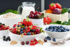 Fresh berries, fruit, cereal and milk for breakfast, horizontal Stock Photo