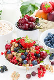 Fresh berries, fruit, cereal and milk for breakfast Royalty Free Stock Image
