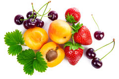 Fresh berries and fruits in still life. Top view Royalty Free Stock Image