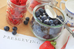 Fresh berries with glass jars Royalty Free Stock Photo
