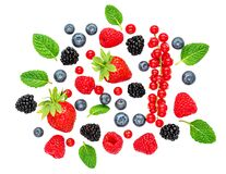 Free Fresh Berries Isolated On White Background, Top View. Strawberry, Raspberry, Blueberry And Mint Leaf, Flat Lay Royalty Free Stock Image - 170934886