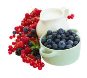 Fresh berries with jug of  milk. Resh berries with jug of  milk isolated on white background Stock Photos
