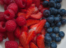 Fresh berries. Mix of fresh berries in a plate Royalty Free Stock Images