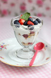 Fruits with yogurt Stock Image