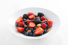 Fresh berries and nuts in a plate Stock Image