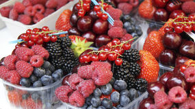 Fresh berries in plastic containers on a market. Gooseberry,plums,strawberries,blueberries,raspberries and black berries,placed in plastic containers in a Stock Photos