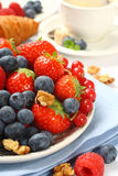 Fresh berries on plate for breakfast Royalty Free Stock Images